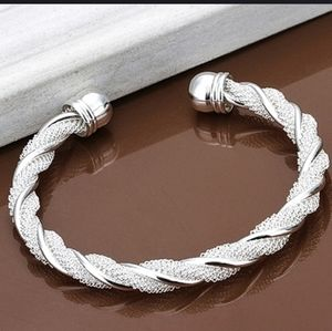 Silver plated twist net cuff bangle